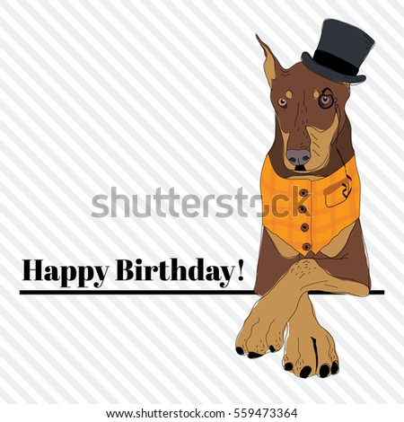 Happy Birthday Card Fashion Vintage Dog Stock Vector Royalty Free