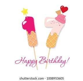 sweet seventeen images stock photos vectors shutterstock https www shutterstock com image vector happy birthday card festive sweet numbers 1008953605