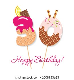 Happy Birthday card. Festive sweet numbers. Thirty years. Coctail straws. Funny decorative characters. Vector illustration.