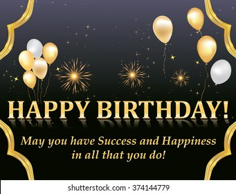 Happy Birthday card with fireworks and balloons for your boss, colleague, business partners. Print colors used.