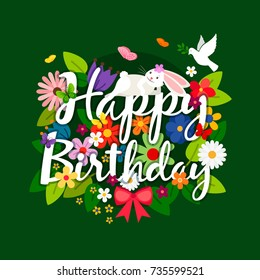Happy birthday card with flowers bouquet and bird on bright green background. Vector illustration