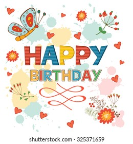 Happy Birthday card with flowers and butterflies. Illustration in vector format