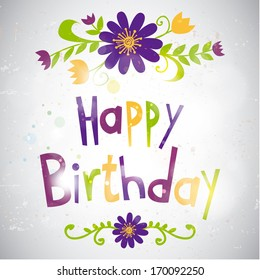 Happy birthday card with flowers in retro style. Vector illustration