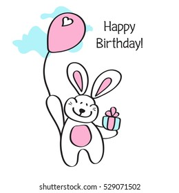 Happy Birthday! Card with flying hot air balloon Bunny, contour style