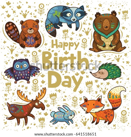 Happy Birthday Card With Forest Animals Cartoon Characters Tribal Ornaments Vector Illustration