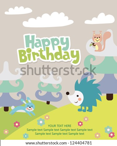 Happy Birthday Card Forest Friends Vector Illustration