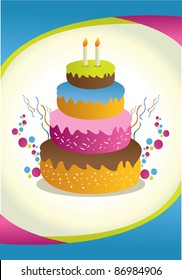 happy birthday card with with four stacking cake