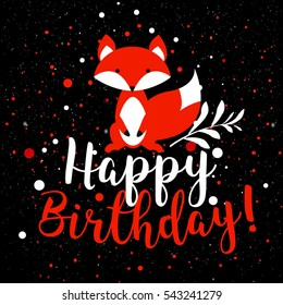 Happy Birthday card with fox. Vector birthday background. Greeting vector card.