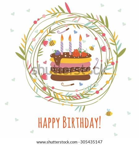 Happy Birthday Card Frame Plants Birthday Stock Vector (Royalty Free ...