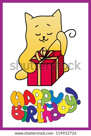 Happy Birthday Card With Funny Cat
