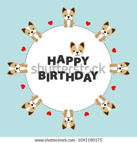 Happy Birthday Card Funny Dog Vector Illustration
