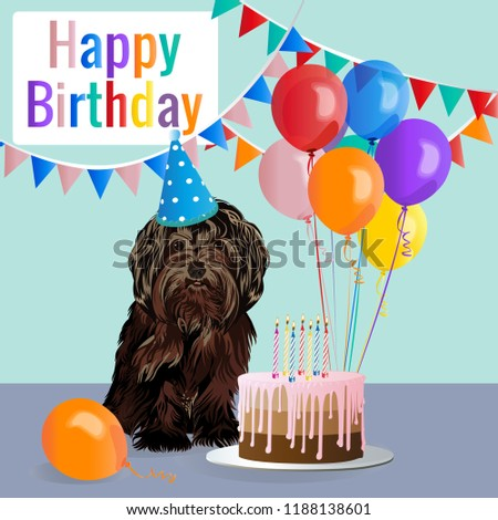 Happy Birthday Card Funny Dog Cake Stock Vector Royalty Free