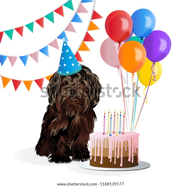 Strange Happy Birthday Card Funny Dog Cake Stockvector Rechtenvrij Birthday Cards Printable Giouspongecafe Filternl