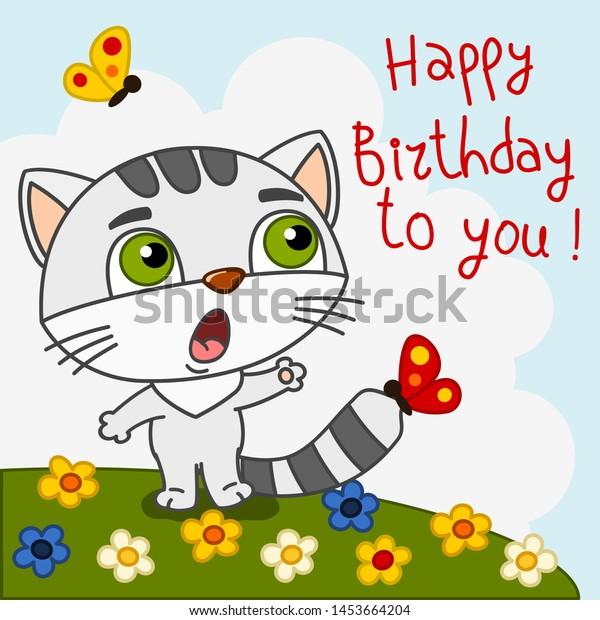 Happy Birthday Card Funny Kitten Cat Stock Vector Royalty Free
