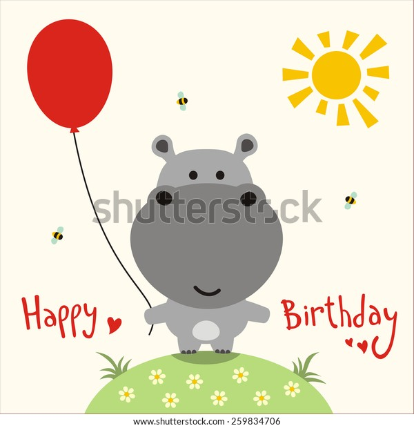 Happy Birthday Card Funny Little Hippo With Balloon Handwritten Text