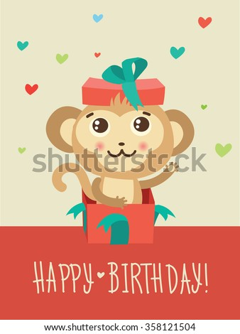 Happy Birthday Card With Funny Monkey Surprise In A Gift Box Funky Vector Animal