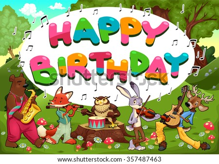 Happy Birthday Card With Funny Musician Animals Vector Cartoon Illustration