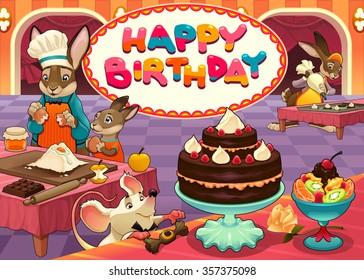 Happy Birthday Card Funny Dinosaurs Vector Stock Vector Royalty