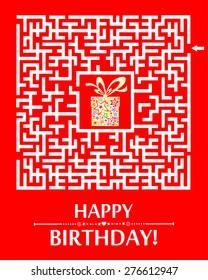 Happy birthday card. Birthday gift box. Vector Illustration