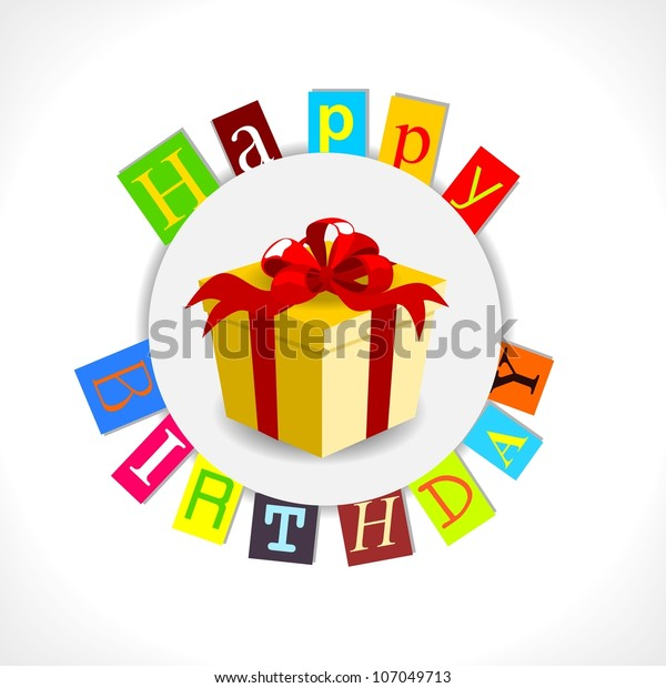 Happy Birthday Card With Gift And Colorful Text