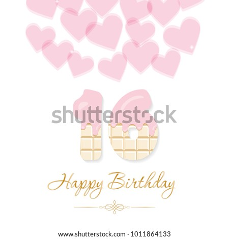 Happy Birthday Card Girls Sweet 16 Stock Vector Royalty Free