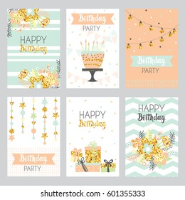 Happy birthday card with golden sparkle, cake, flowers, gift boxes and garlands . Greeting cards in vintage style, pastel colors. Vector illustration.