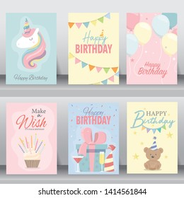 Happy birthday card. greeting and vitation cards design baby concept. vector illustration
