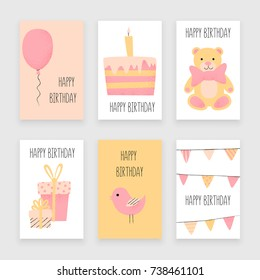 Happy birthday card, greetings and celebration set with cake and presents