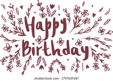 Happy Birthday Card with hand drawn flowers. Vector illustration