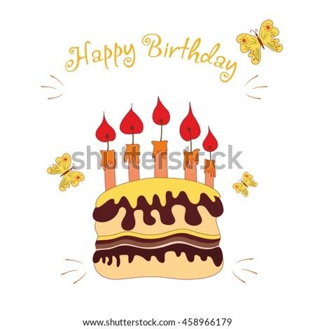 Happy Birthday Card Hand Drawn Style Stock Vector Royalty Free