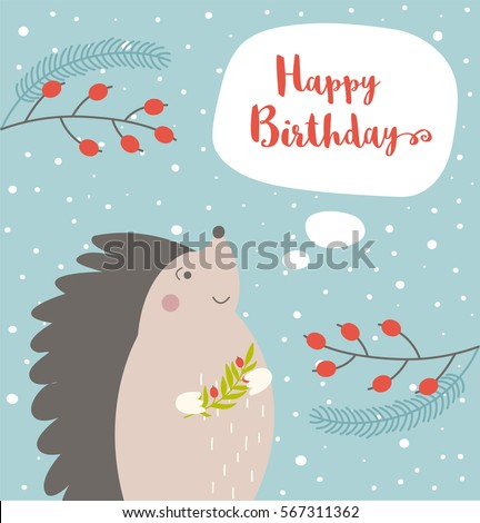 Happy Birthday Card Hedgehog On Winter Stock Vector Royalty Free