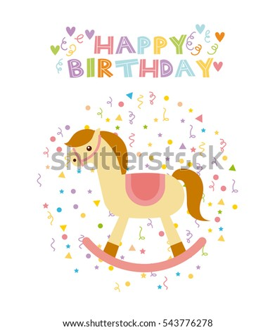 Happy Birthday Card With Horse Toy Cute Icon Over White Background Colorful Design Vector