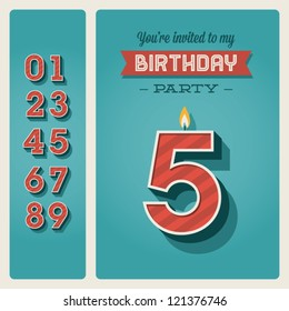 Birthday invitation images stock photos vectors shutterstock happy birthday card invitation with candle number editable stopboris Gallery