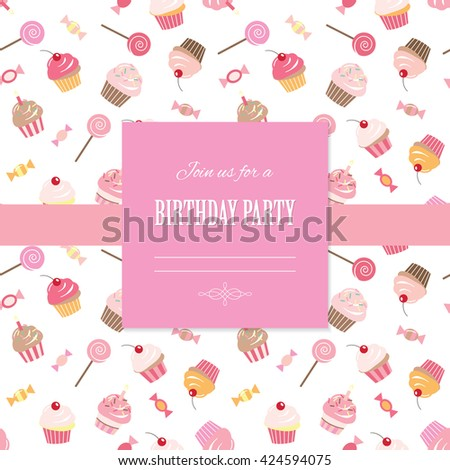 Happy Birthday Card Invitation Template Seamless Pattern With Cupcakes And Sweets Included