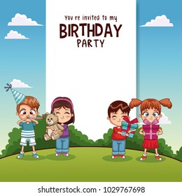 Happy birthday card with kids and gifts