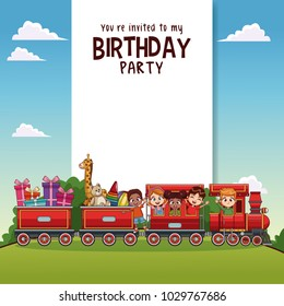 Happy birthday card with kids on train