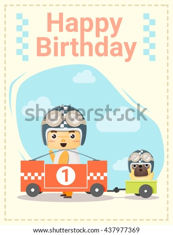 Happy Birthday Card Little Boy Friend Stock Vector Royalty Free