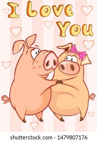Happy Birthday Card Little Pig with Gift Pie. Vector Greeting Card. Happy Moment. Congratulation.