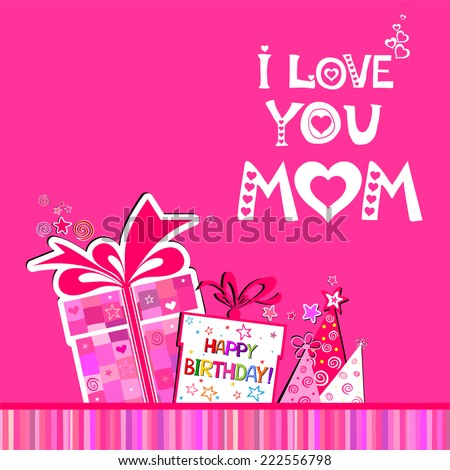 Happy Birthday Card Love You Mom Stock Vector Royalty Free
