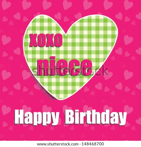 Happy Birthday Card Niece Heart Vector Eps 10 Illustration Raster