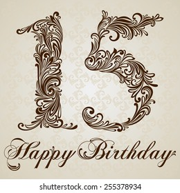 Happy birthday card with number 15 fifteen. Vector Design Background. Swirl Style Illustration.