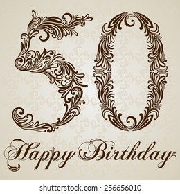 Happy birthday card with number fifty. Vector Design Background. Swirl Style Illustration.