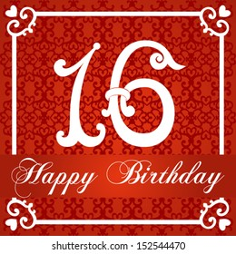 Happy birthday card with number sixteen. vector illustration