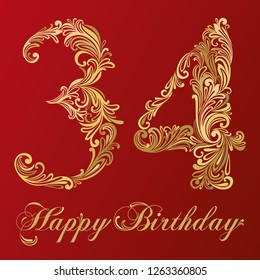 Happy birthday card with number thirty four. Vector Design Background. Swirl Style Illustration.thirty four