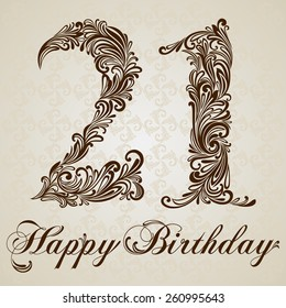 Happy birthday card with number  twenty one. Vector Design Background. Swirl Style Illustration.
