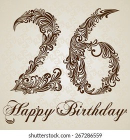 Happy birthday card with number Twenty six. Vector Design Background. Swirl Style Illustration.