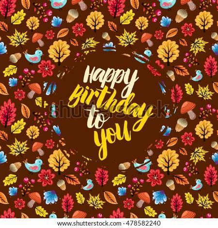 happy birthday fall Happy Birthday Card On Colorful Autumn Stock Vector (Royalty Free  happy birthday fall