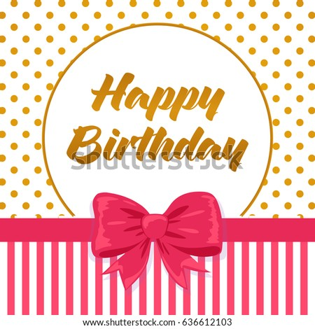 Happy Birthday Card On Golden Dotted Stock Vector Royalty Free