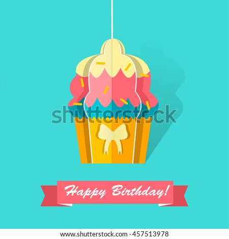 Happy Birthday Card Origami Cupcake Paper Stock Vector Royalty Free