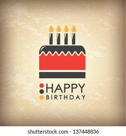 Happy Birthday card over vintage background  vector illustration